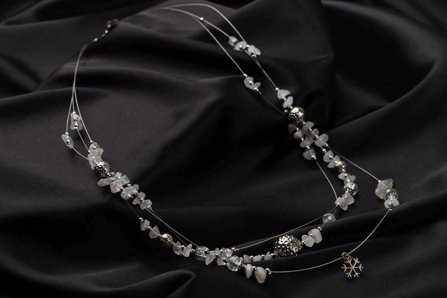 Beaded necklace with quarts New Year Mood photo 2