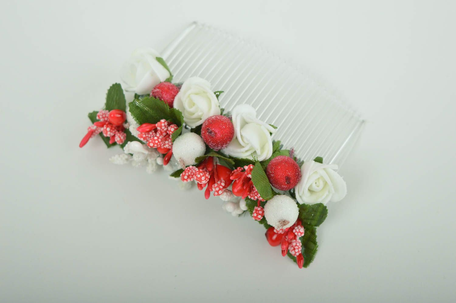 Handmade hair comb flower comb for hair gift ideas designer hair accessory photo 2