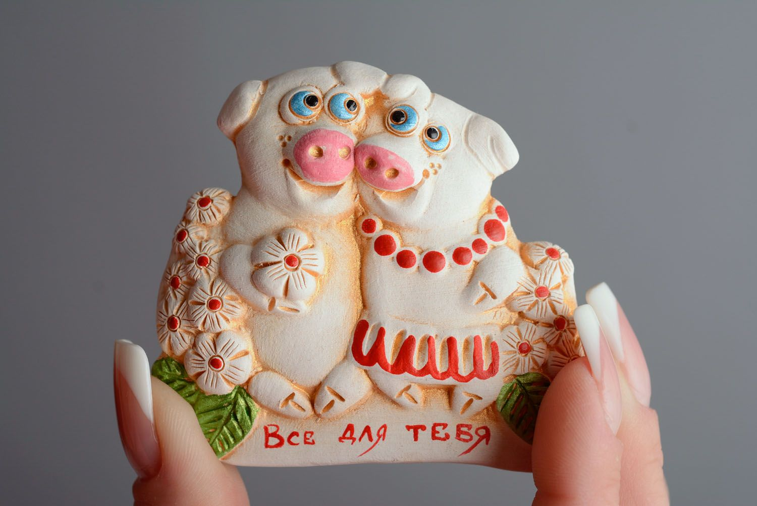 Ceramic fridge magnet Pigs photo 3