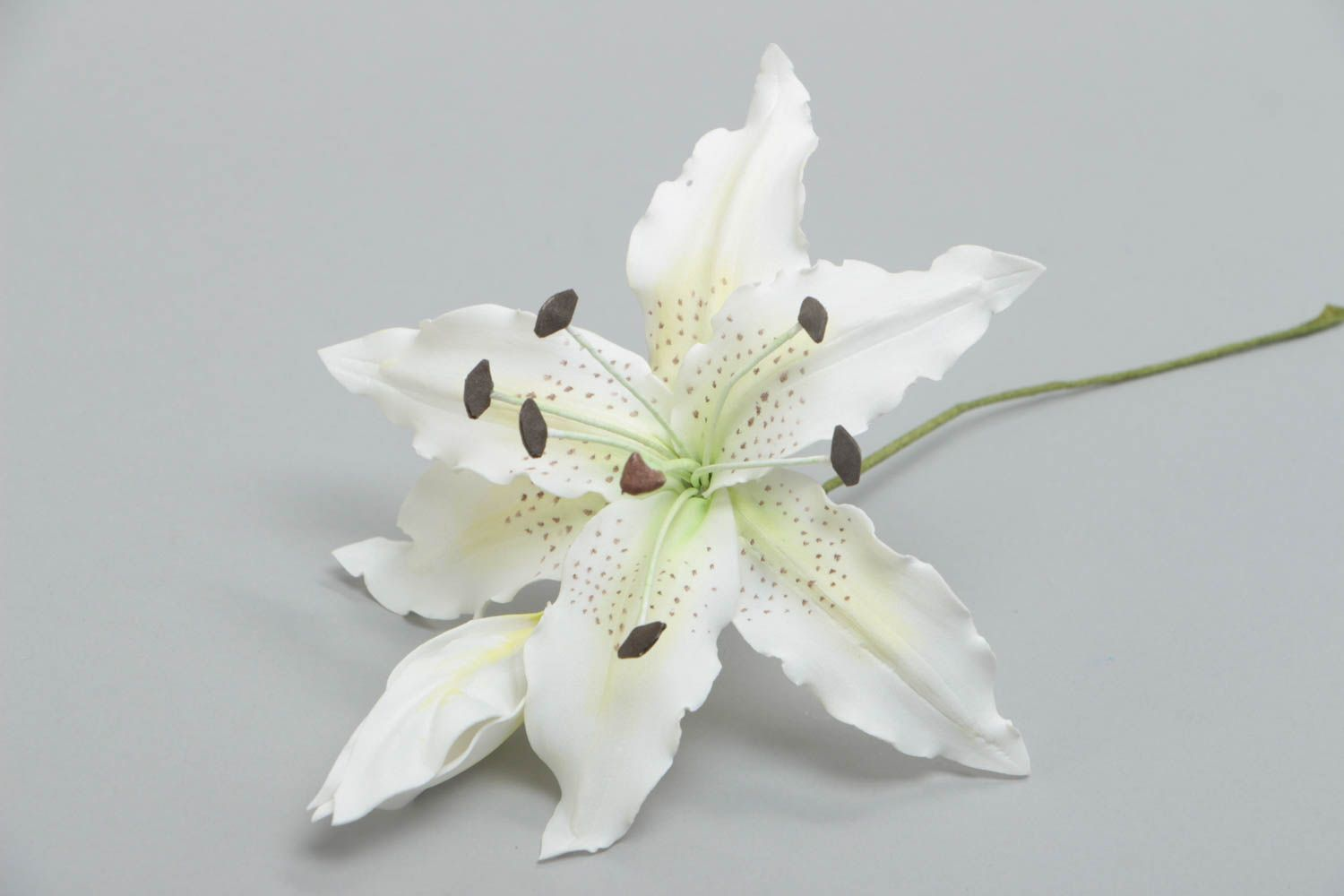 Handmade artificial foamiran flower white lily for interior decoration photo 4