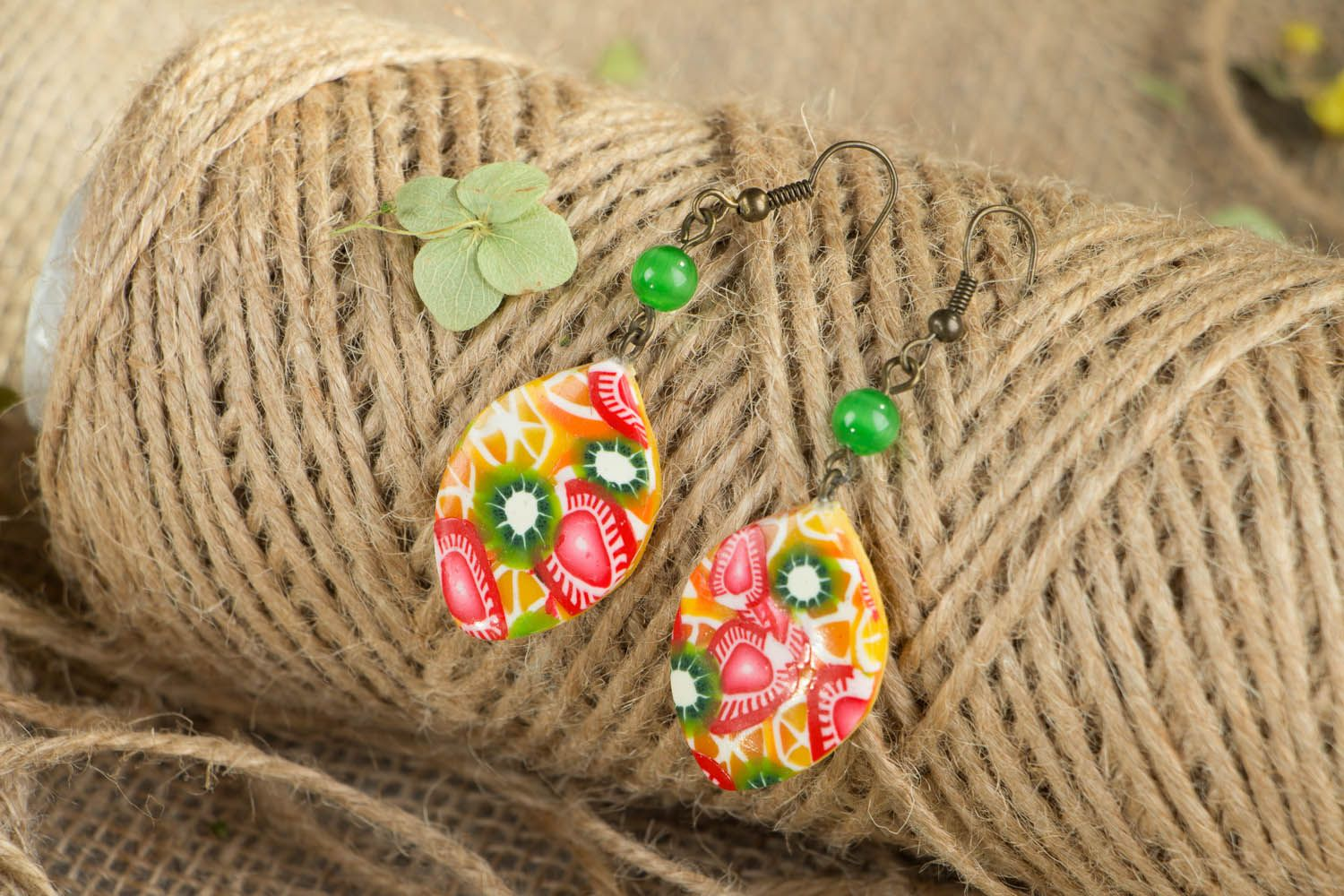 Polymer clay earrings Fruit Mix photo 3