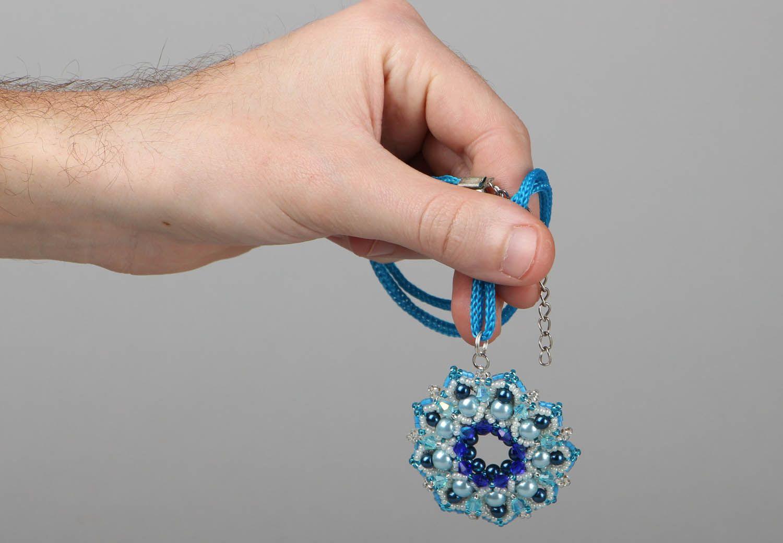 Blue beaded pendant Pearls photo 4