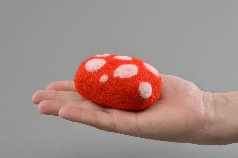 Handmade bright bath loofah sponge felted of natural wool Fly Agaric photo 4