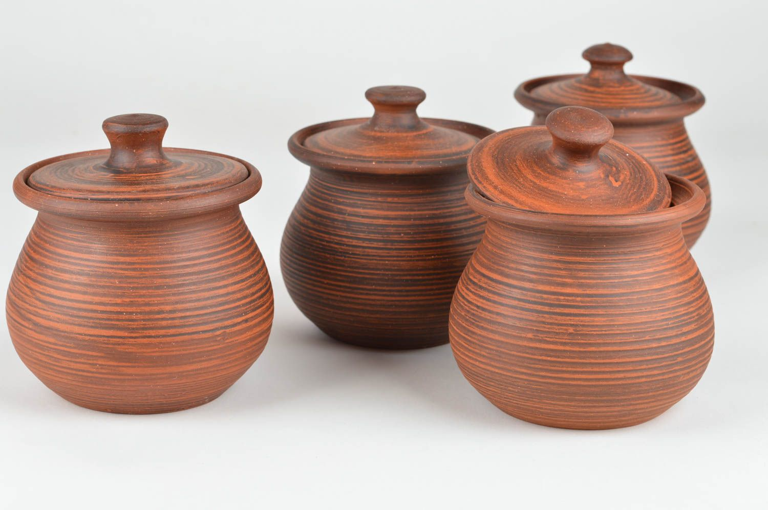 Set of handmade ceramic pots with lids for baking 4 items for 400 ml photo 1