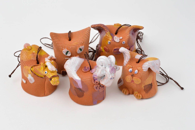 Designer handmade bells clay 5 beautiful animals unusual designer home decor photo 3