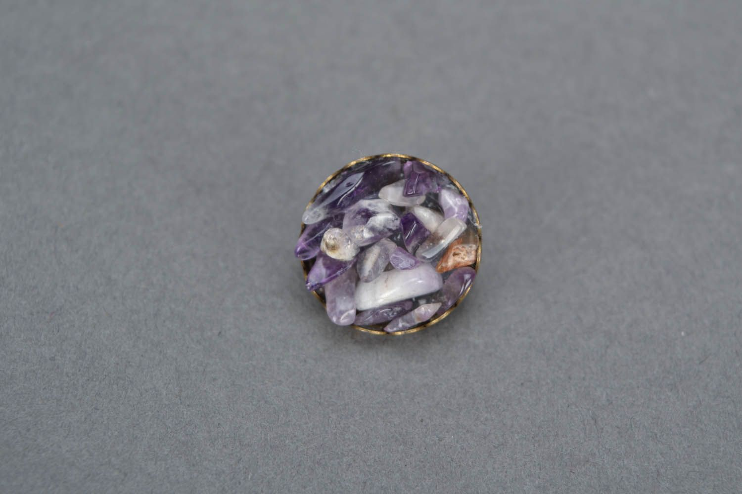 Earrings and a brooch with amethyst photo 3