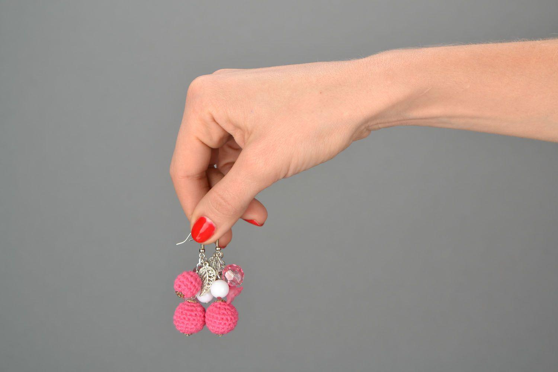 Серьги с подвесками Розовая надежда фото 2
