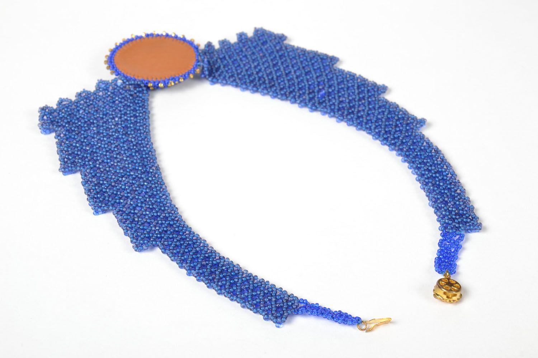 Blaues Collier aus Glasperlen foto 4