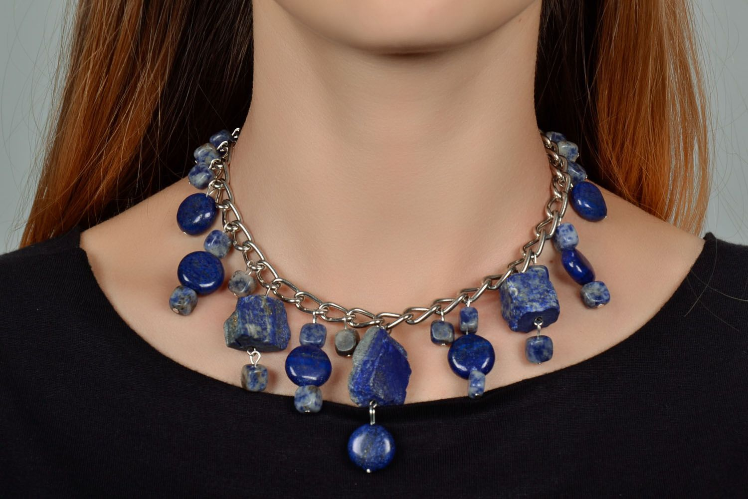 Necklace with lazurite photo 1