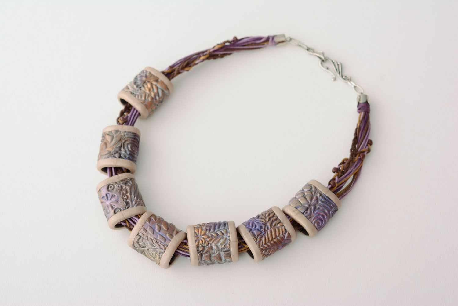 Polymer clay necklace Violet Nacre photo 3
