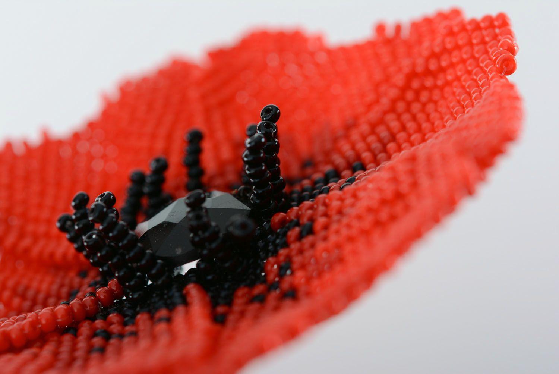 Beaded brooch Poppy photo 4