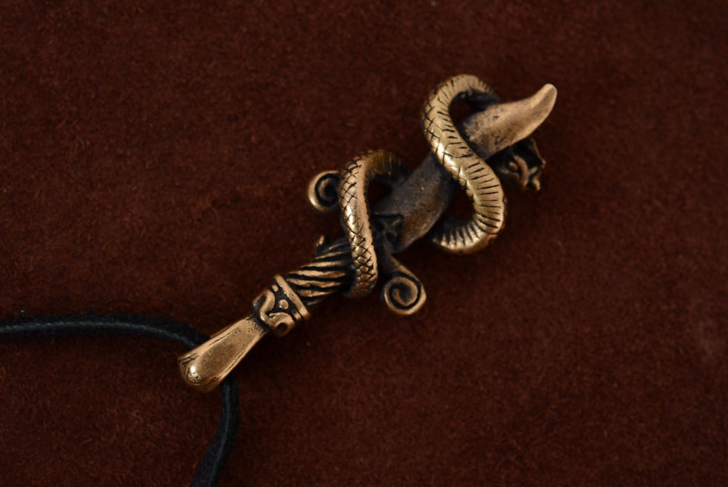 Bronze pendant Snake and Sword photo 1