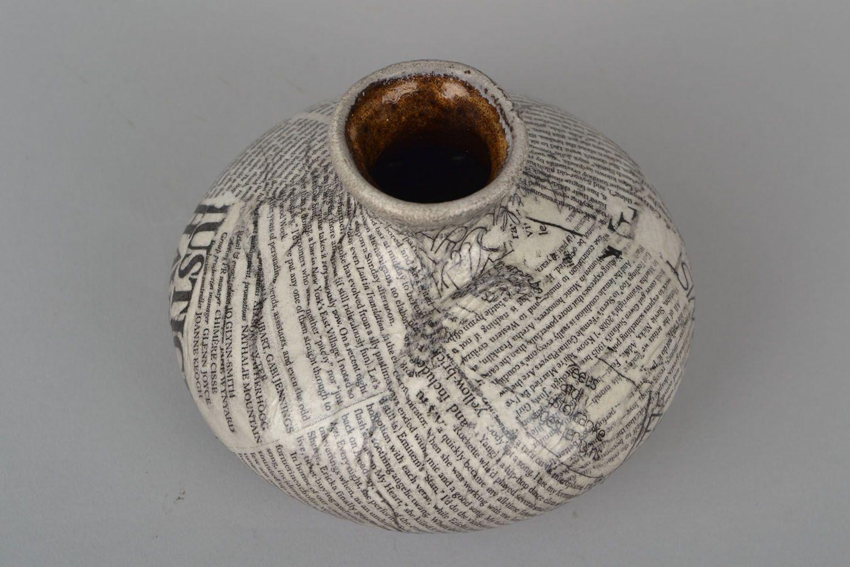 5 inches flat newspaper design ceramic vase 0,67 lb photo 1