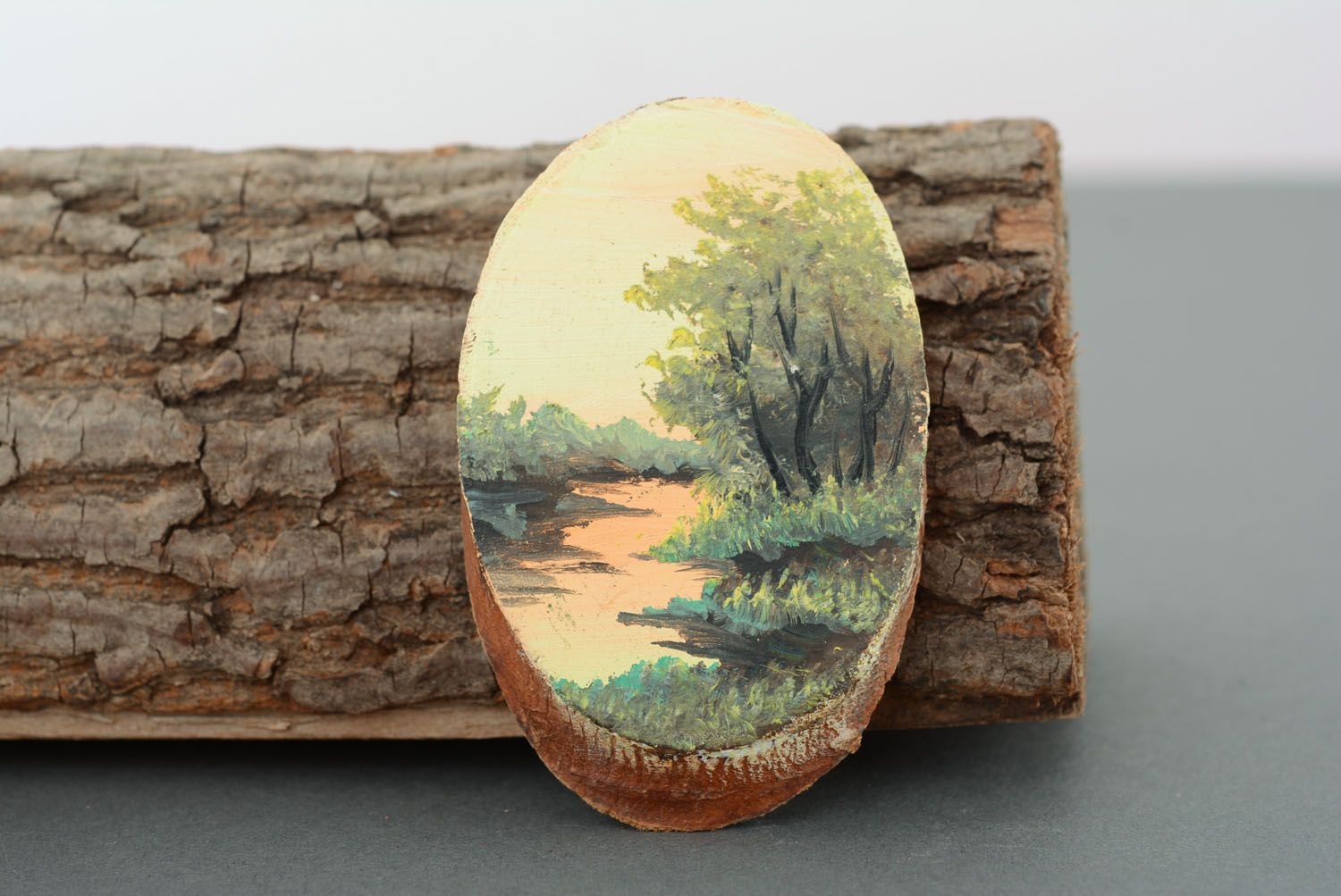 Wooden fridge magnet River photo 1