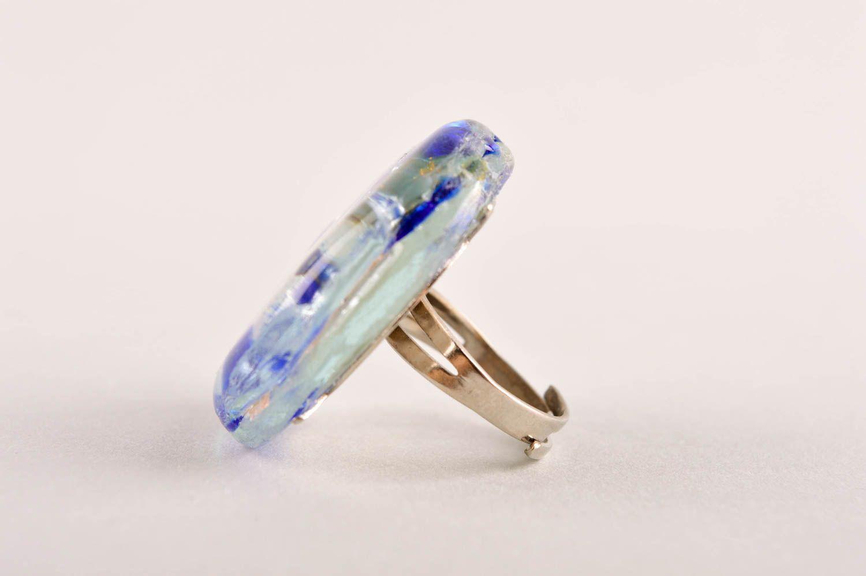 Frauen Ring handmade Damen Modeschmuck Ring aus Glas und Metall originell foto 3