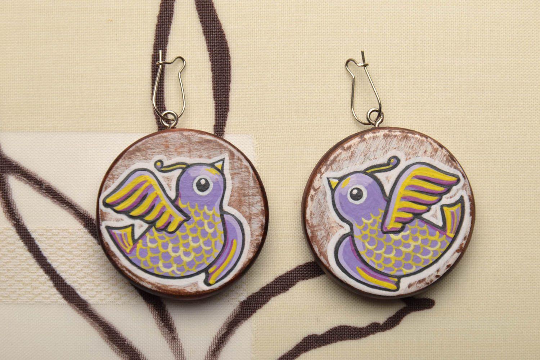 Homemade wooden earrings Birds photo 1
