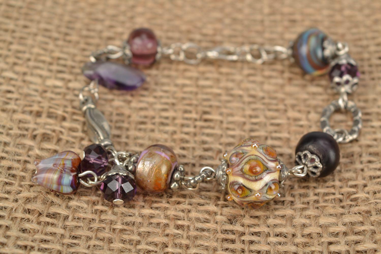 Wrist bracelet with lampwork glass beads Peacock Eye photo 2