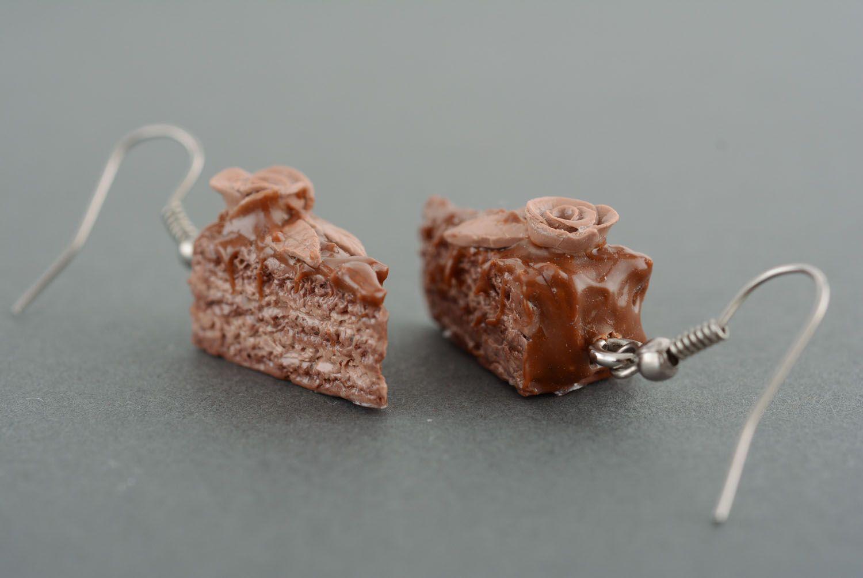 Polymer clay earrings Chocolate Cake photo 2