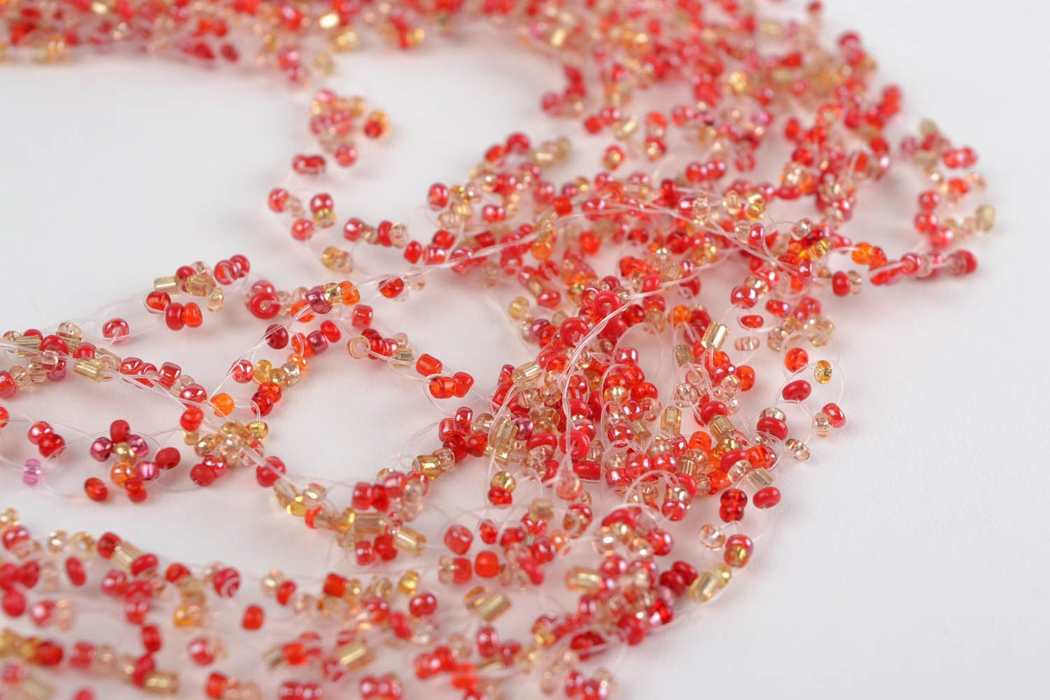 Red beaded necklace handmade designer seed beads jewelry womens accessory photo 2