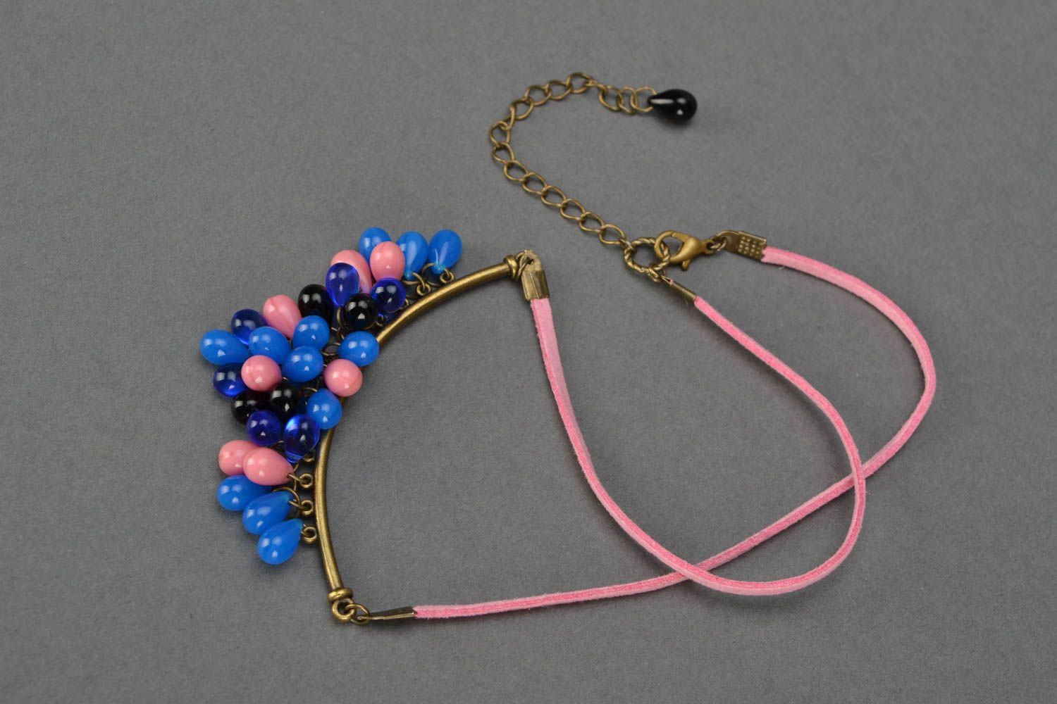 Handmade women's necklace with bright glass beads on suede pink cord photo 4