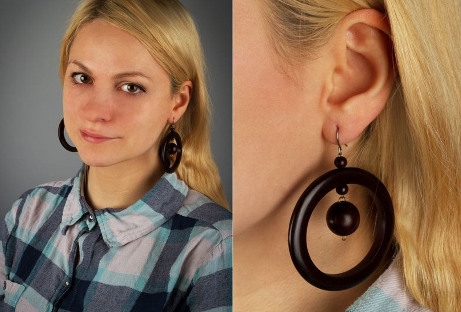 Beautiful earrings made ​​of wood photo 2