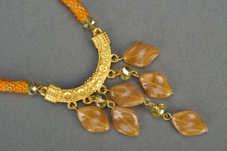 Homemade beaded jewelry set Golden Dust photo 4