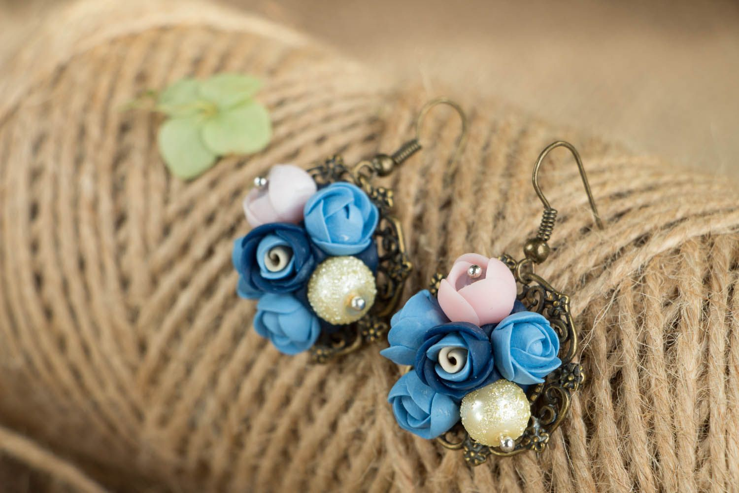 Flower earrings with charms  photo 3