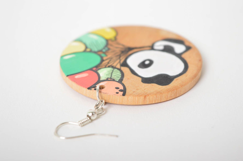 Wooden earrings handmade round earrings cute painted earrings with pandas photo 4