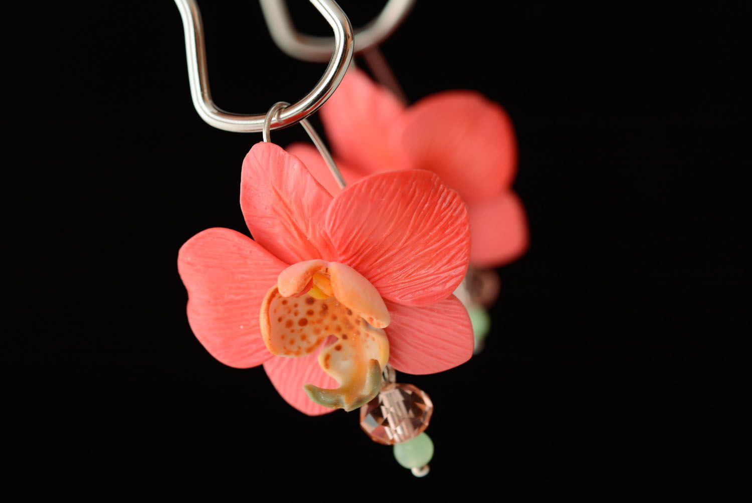 Polymer clay earrings Orchids photo 2
