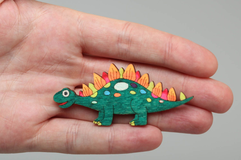 Chapa Con Dinosaurio Madera Acrílicos Infantil Broche Pintado Artesanal De GUzpMqSV
