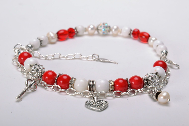 Double wrap bracelet with coral photo 3