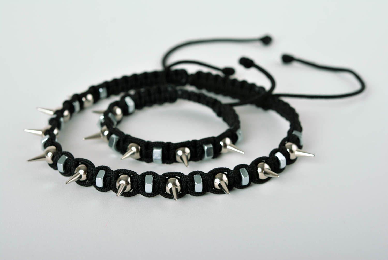 8b7eb046974f sets de joyas Collar y pulsera artesanales bisutería de moda accesorios  para mujer negros - MADEheart