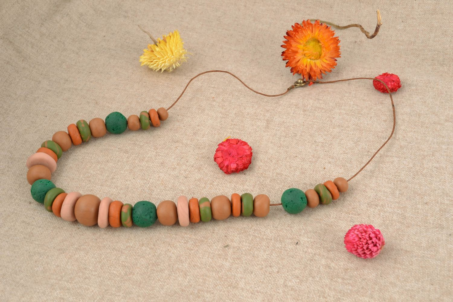 Unusual polymer clay bead necklace photo 1