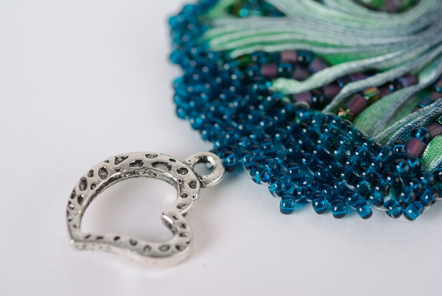 Handmade wide embroidered bead bracelet on artificial leather basis photo 4