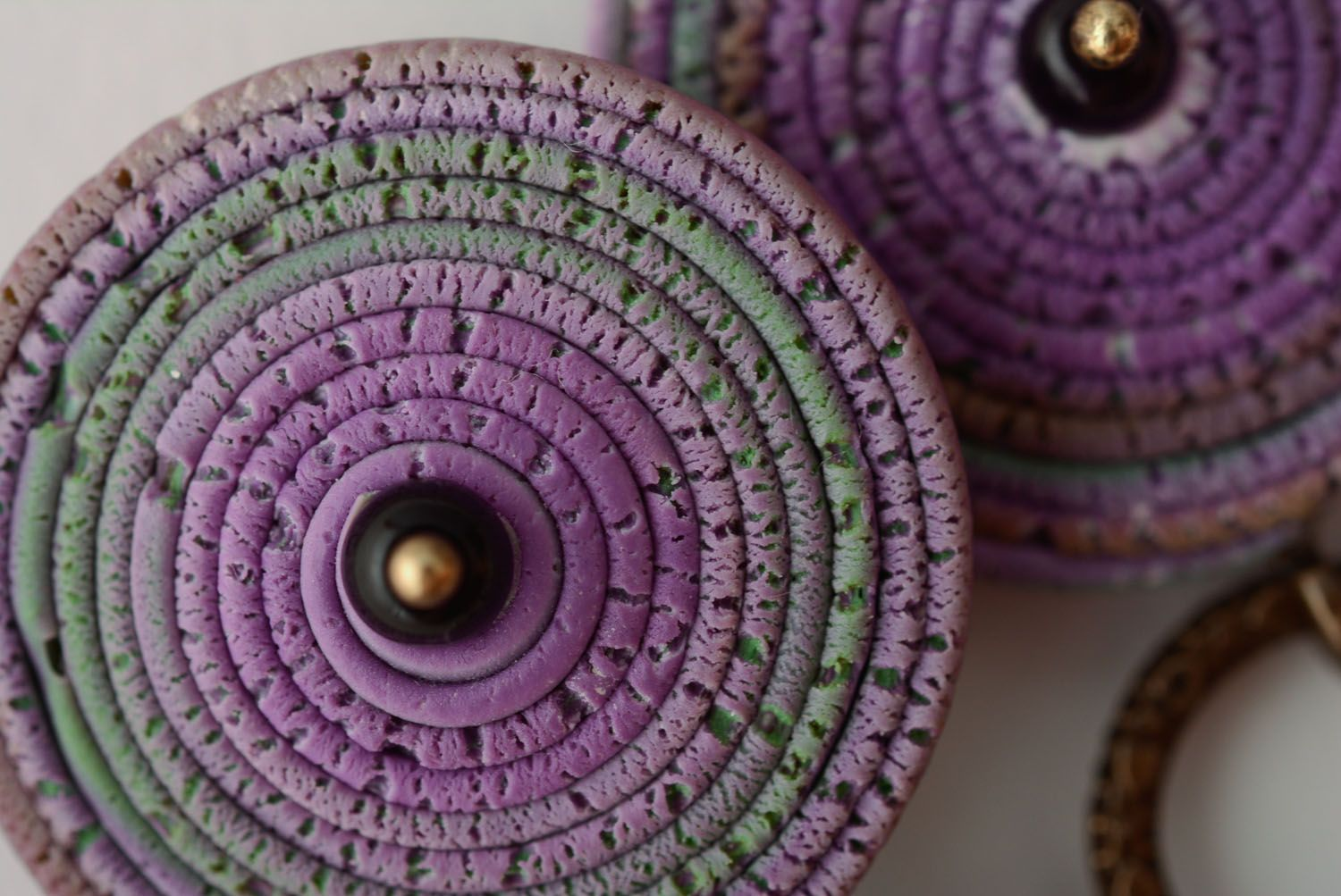 Polymer clay earrings Violet Smog photo 4