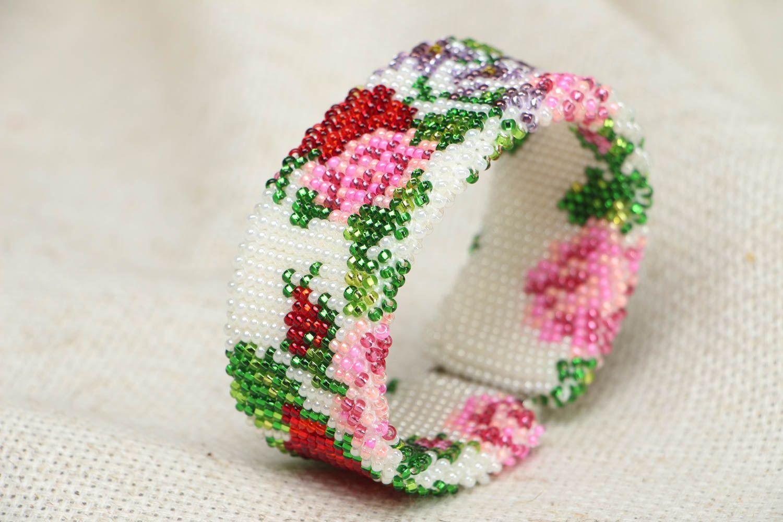 Wide beaded bracelet Victorian Garden photo 2