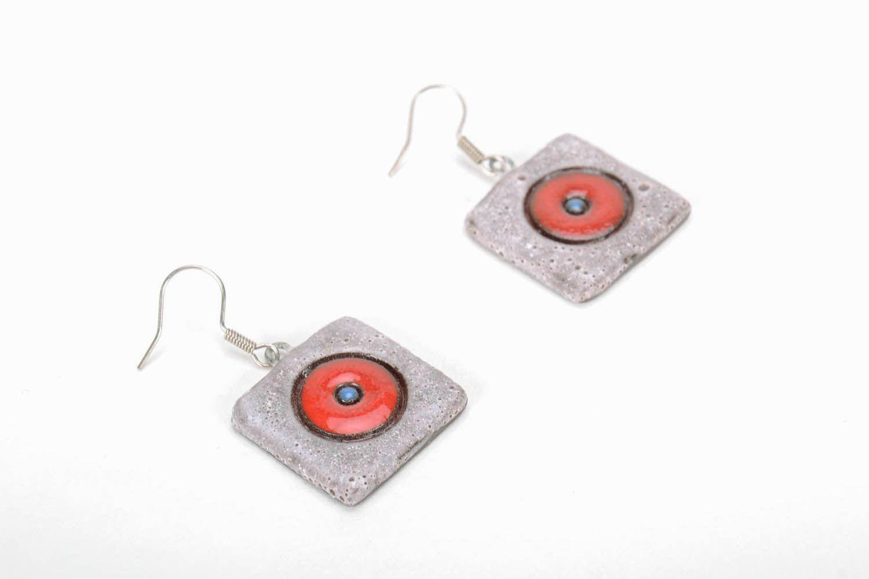 Square ceramic earrings photo 5