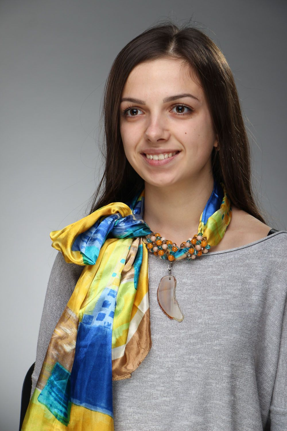 scarves and tippets Summer scarf with natural stones - MADEheart.com