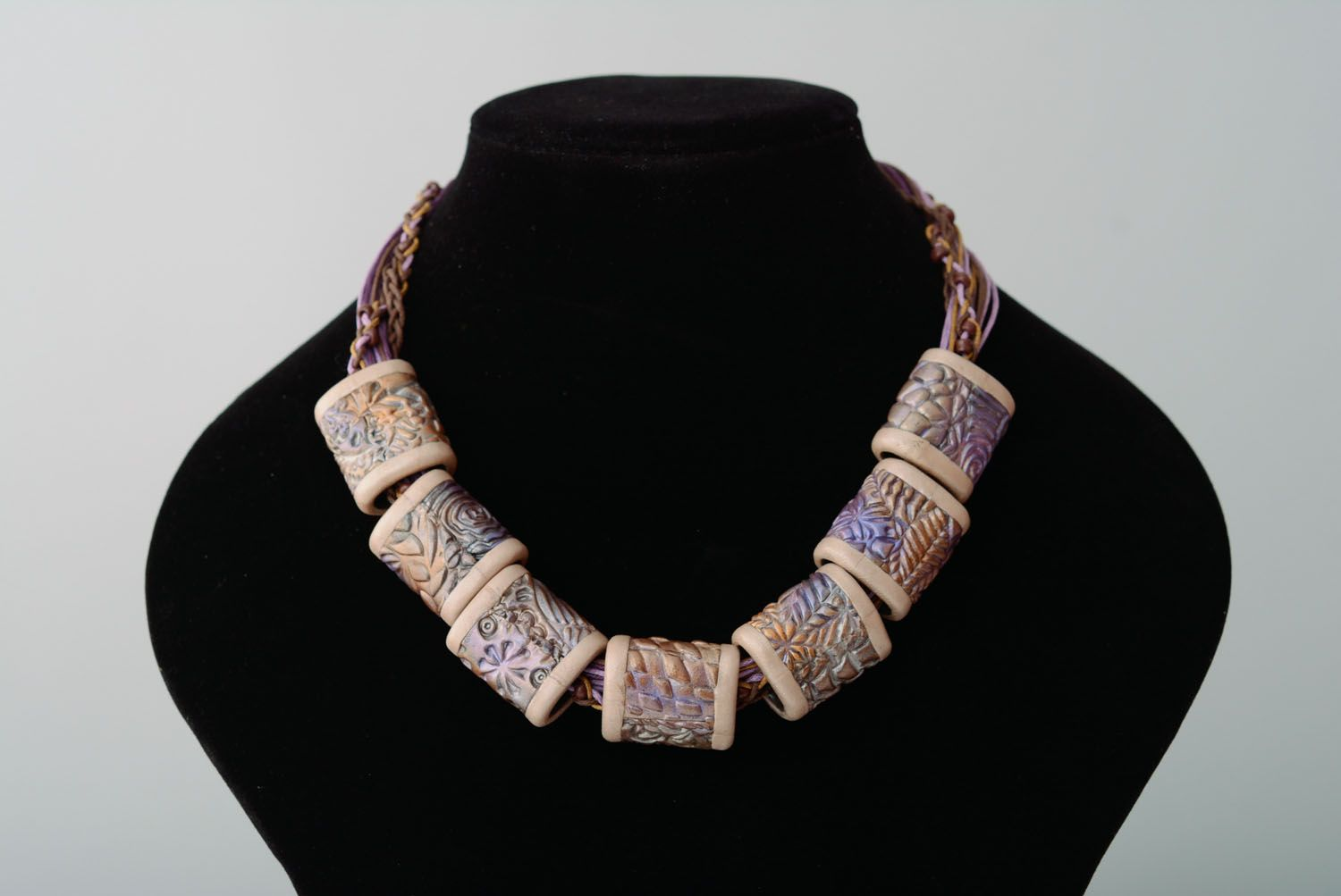 Polymer clay necklace Violet Nacre photo 1