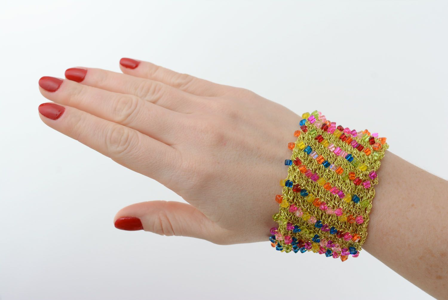 Wide bracelet with beads photo 5