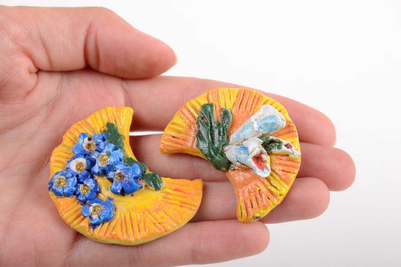 Set of ceramic fridge magnets handmade painted souvenirs home decor 3 pieces photo 3