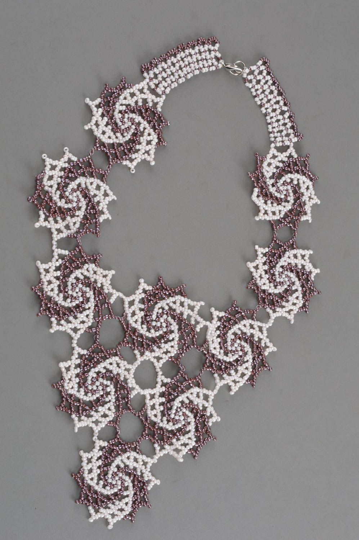 Handmade beaded necklace beautiful accessory elegant designer jewelry photo 3
