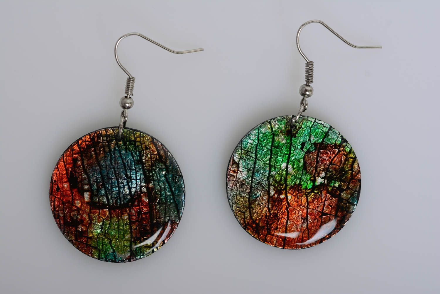 polymer clay earrings Polymer clay round-shaped earrings handmade stylish women accessory for summer - MADEheart.com