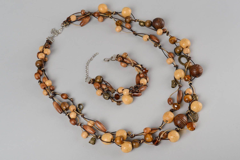 Деревянные украшения ручной работы деревянные бусы длинные женский браслет фото 2