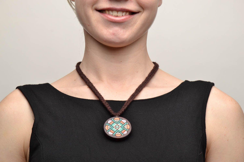 Handmade wooden pendant photo 5