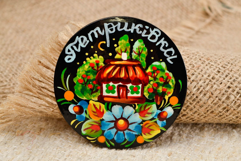 Decorative handmade wooden fridge magnet Petrikov painting decorative use only photo 1