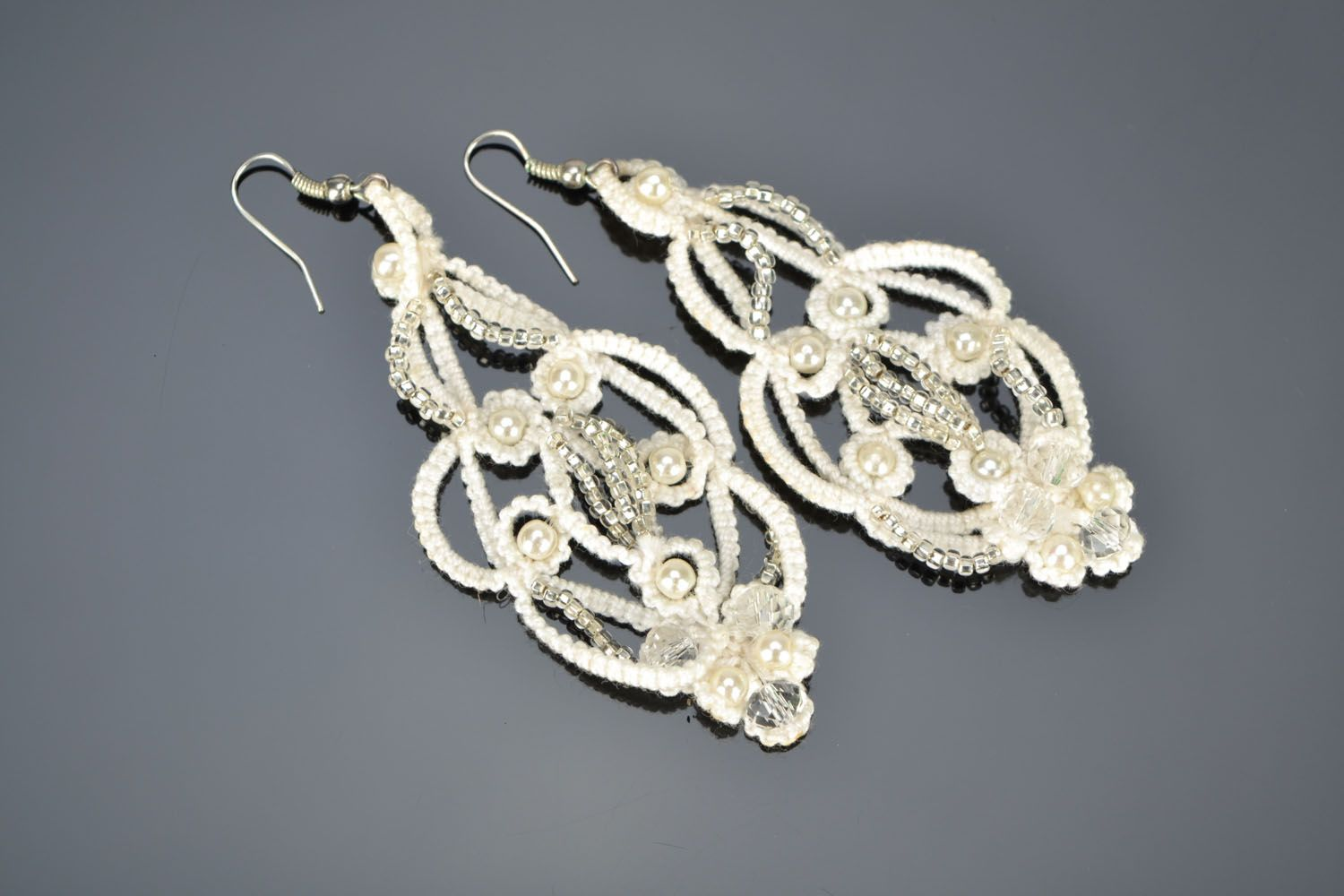 Large tatting earrings photo 1