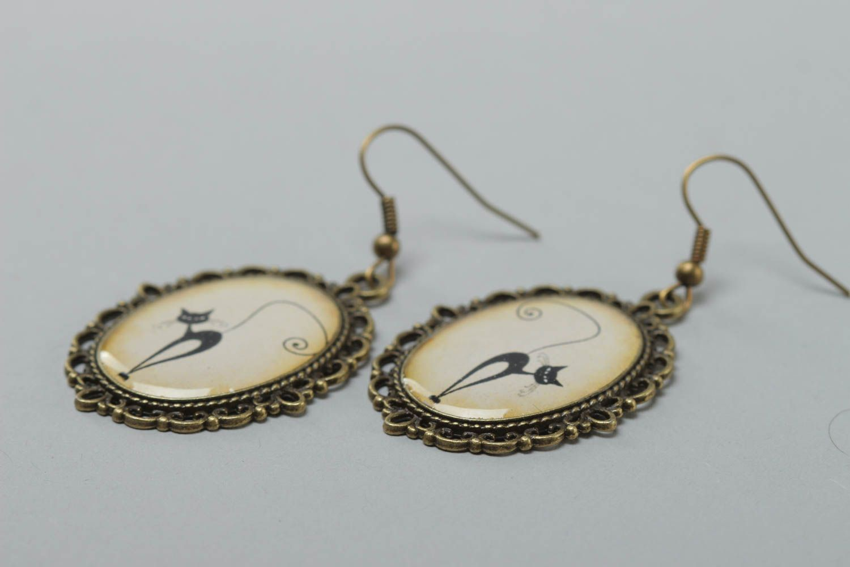Beautiful handmade earrings made of glass glaze vintage style accessory photo 3