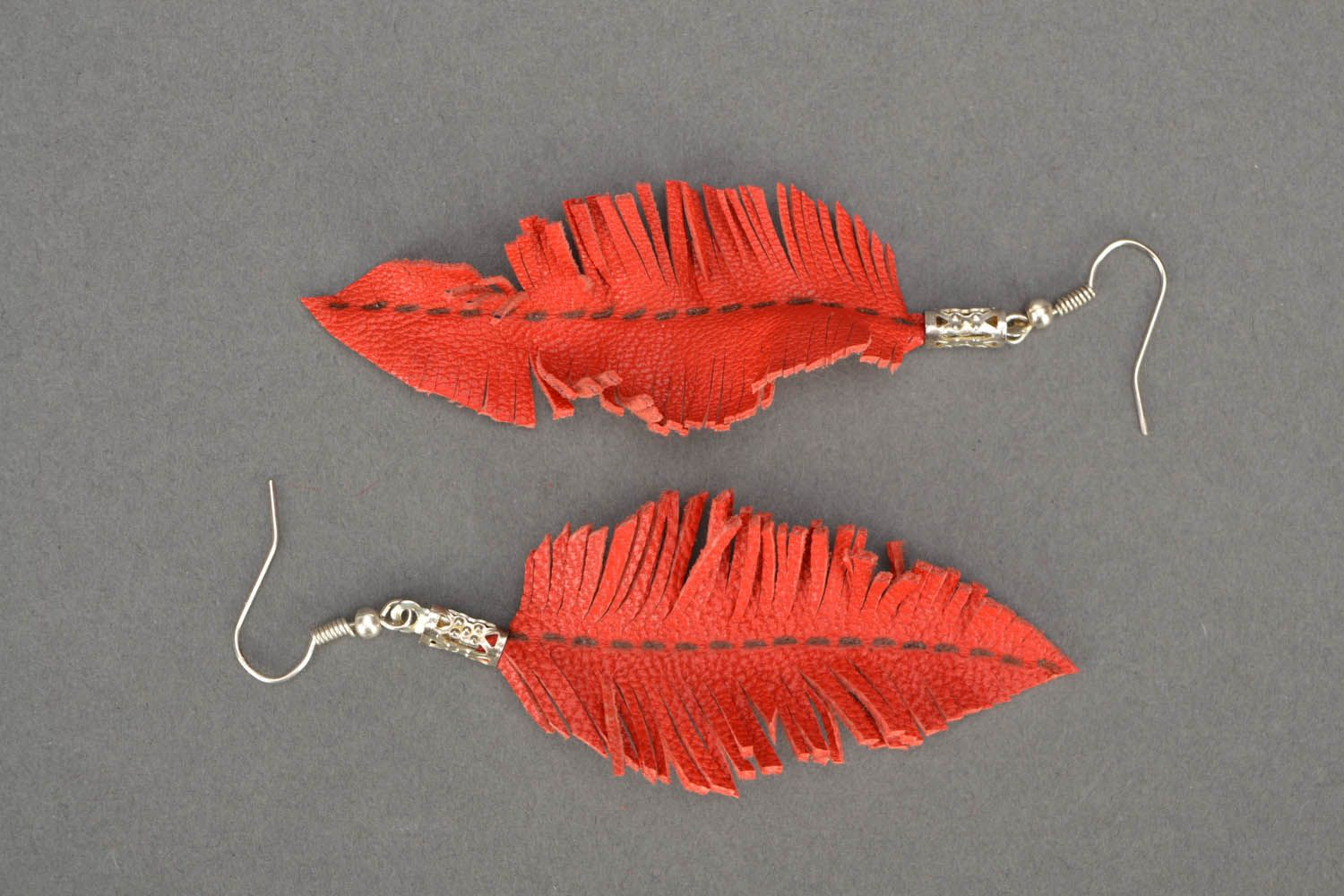 Leather earrings Leaves photo 3