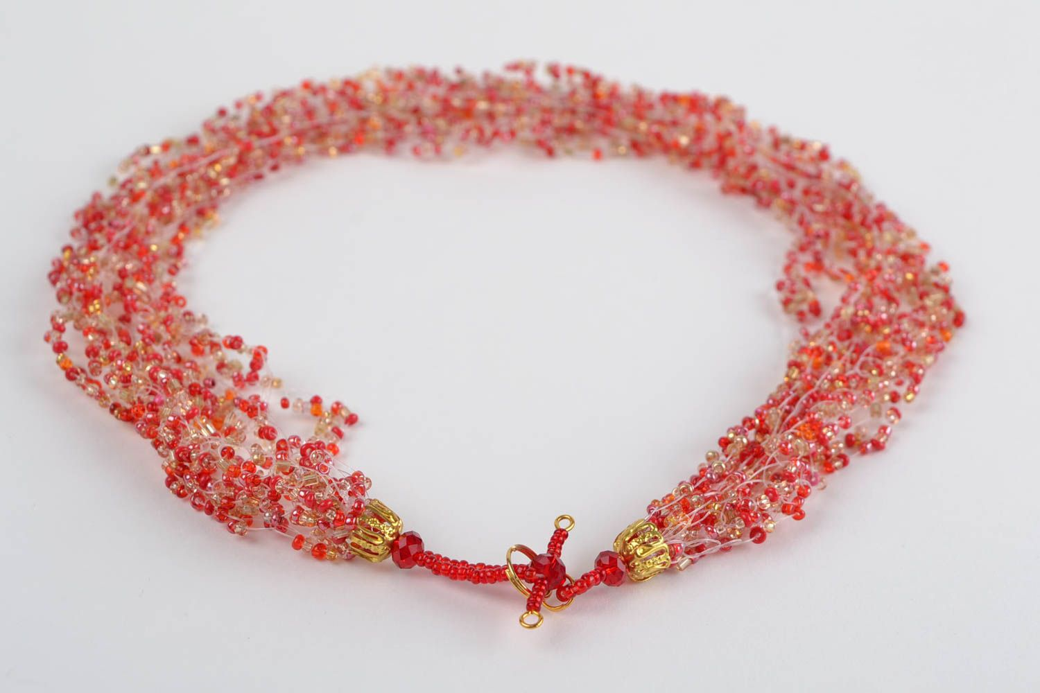 Red beaded necklace handmade designer seed beads jewelry womens accessory photo 5